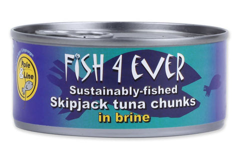 Sustainably-fished Skipjack Tuna Chunks in Brine 160g - Fish 4 Ever