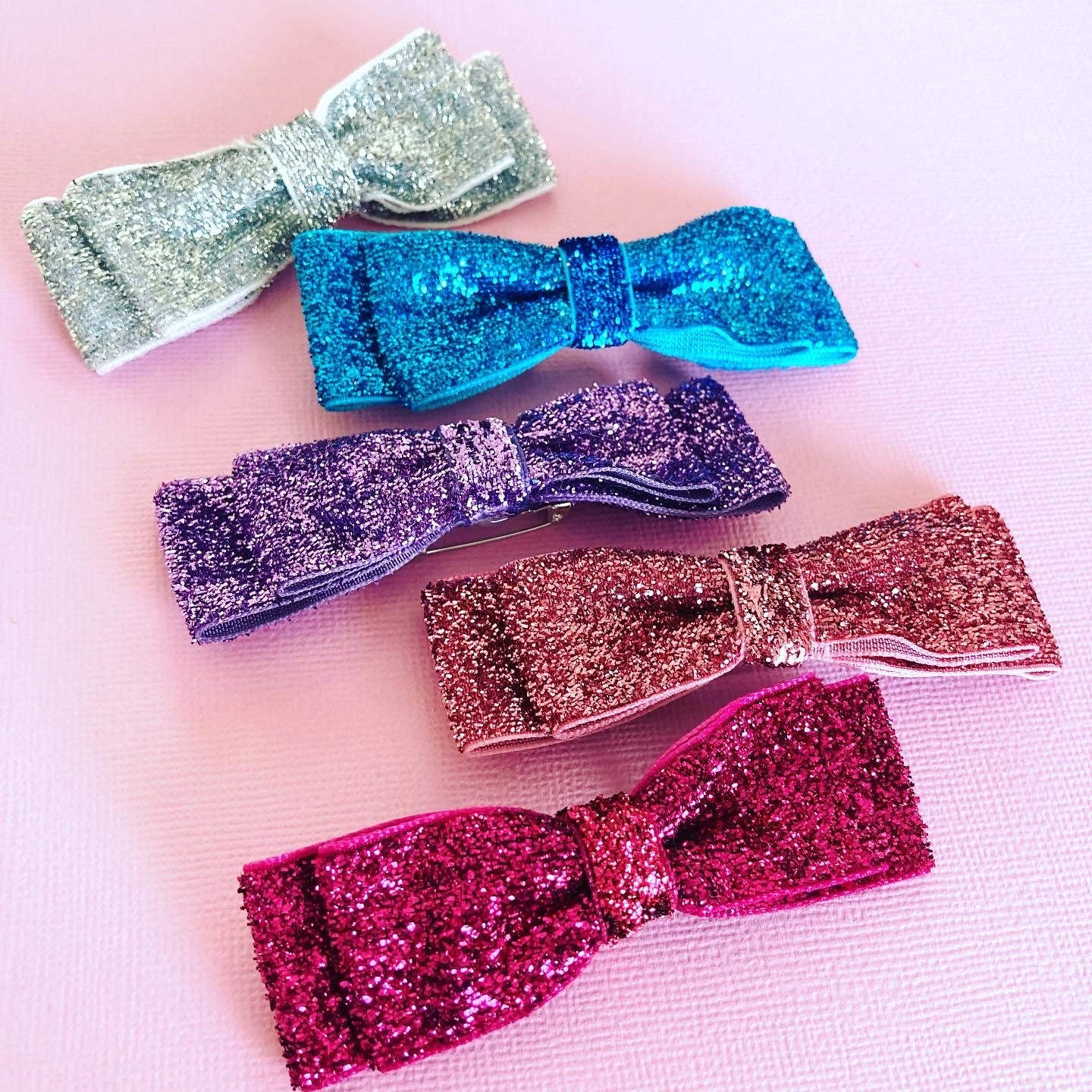 Glitter Bow Brooch - CHOOSE COLOURWAY
