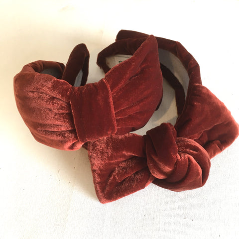 Rust Velvet Headband - CHOOSE STYLE