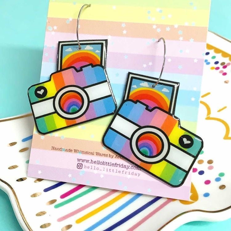 Rainbow Camera ~ Handmade Resin Drop Earrings