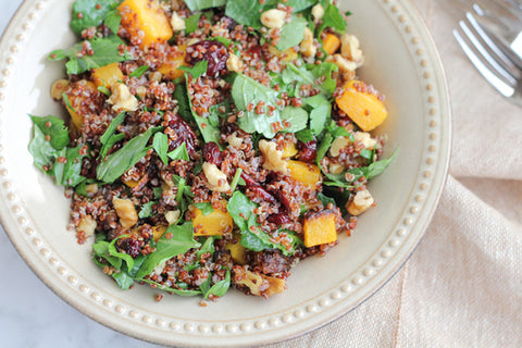 Organic Kale, Quinoa, & Roasted Butternut Squash Salad w/ Toasted Pumpkin Seeds