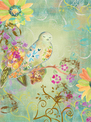 Hand painted bird in blues and greens surrounded by colorful flowers