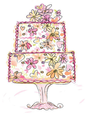 hand painted floral birthday cake greeting card
