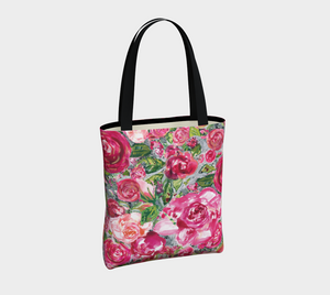 Love and Roses vegan Leather Tote Bag