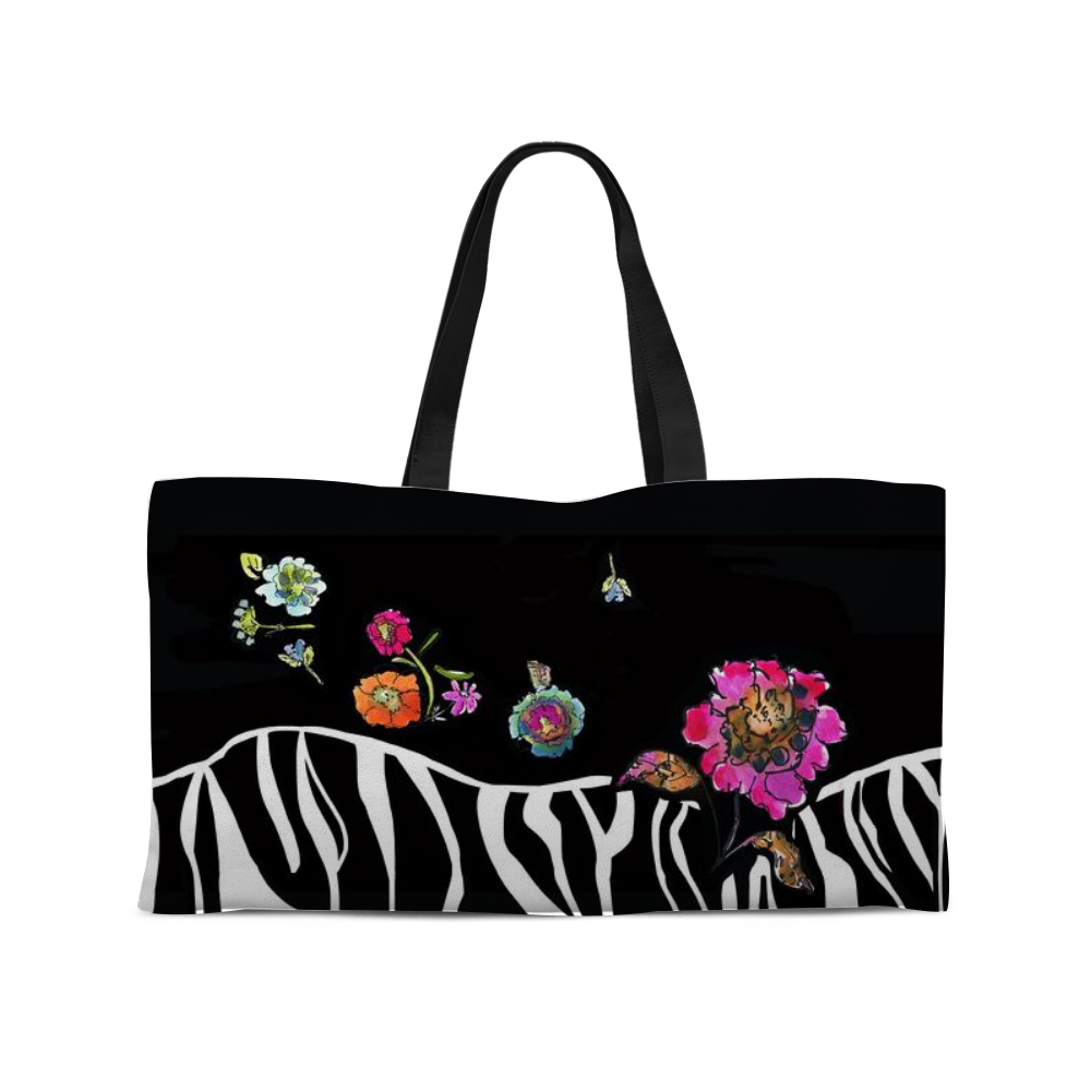 Zebra Floral Weekender Tote with Woven Handles