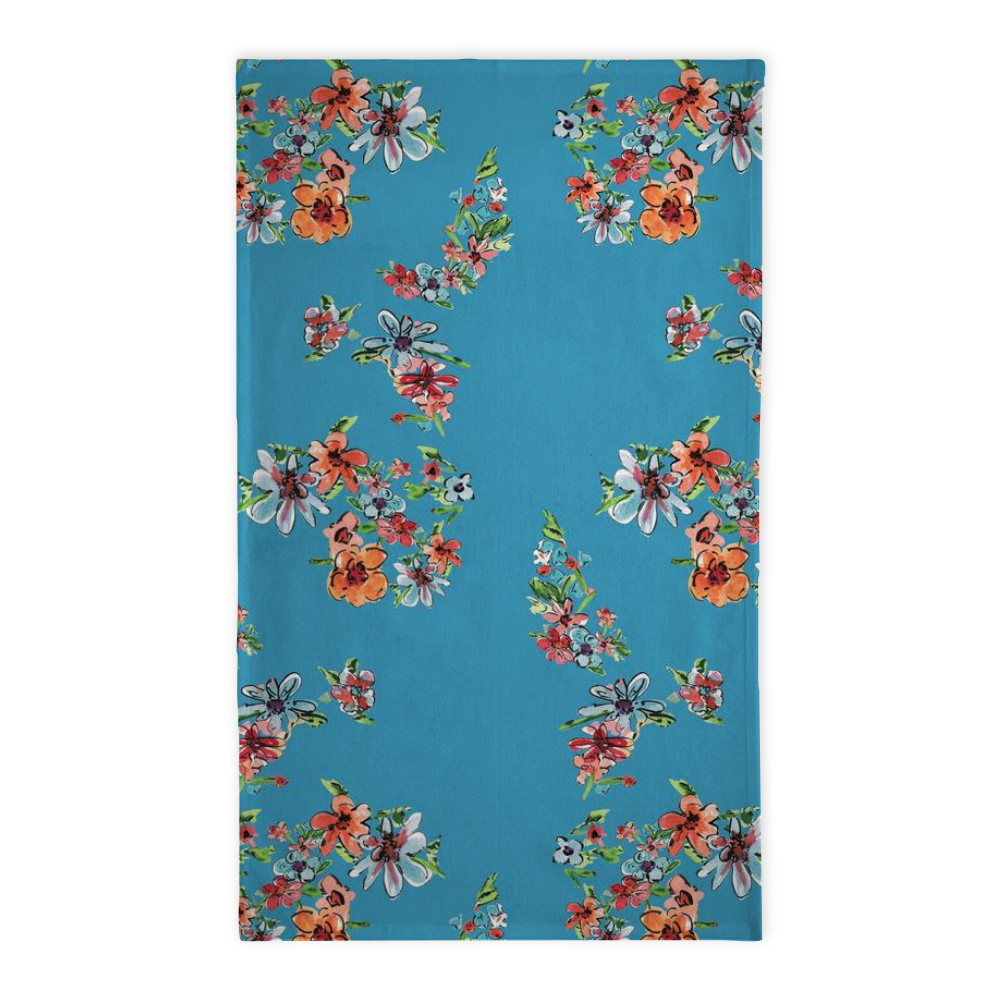 Daisy Bright Teal Floral Tea Towel - Tea Towel - Dreams After All