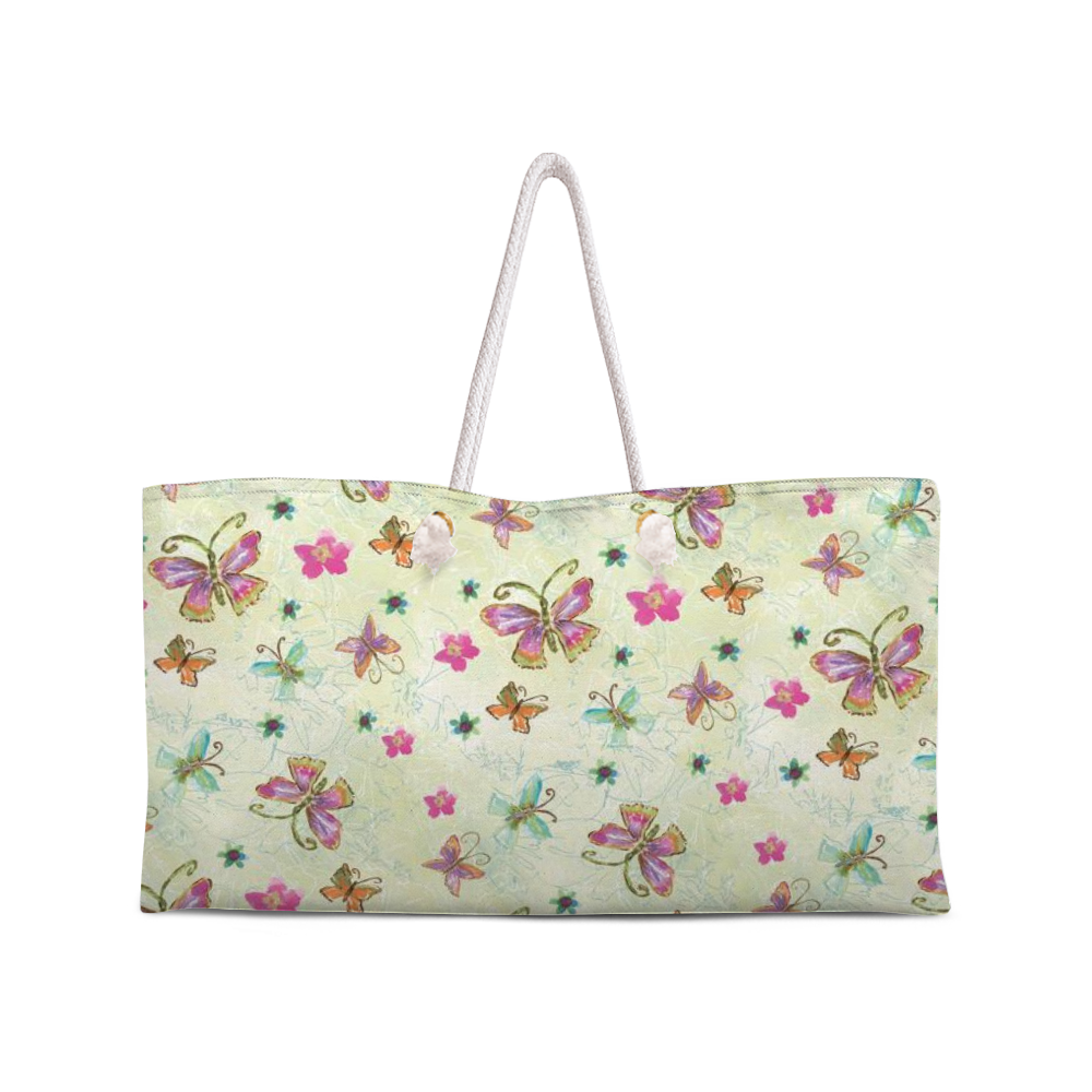 Four Butterfly Weekend Tote with Rope Handles ! Renée Rubach Art