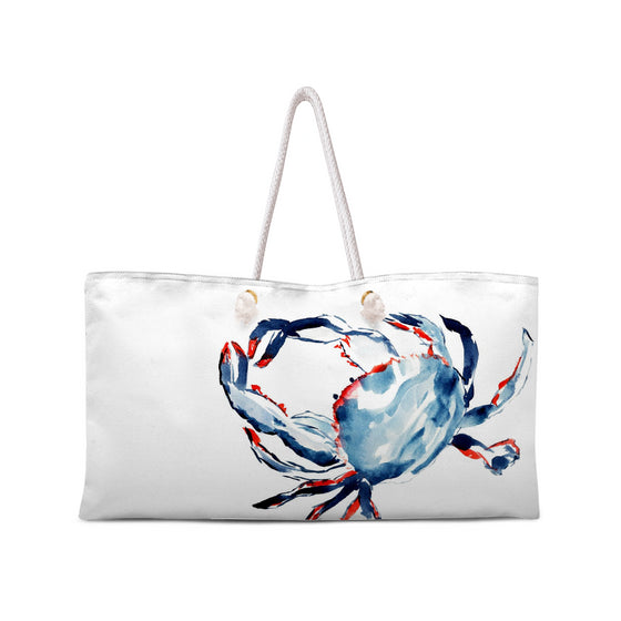 Sometimes I'm Just Crabby Weekend Tote with White Rope Handles - tote - Dreams After All