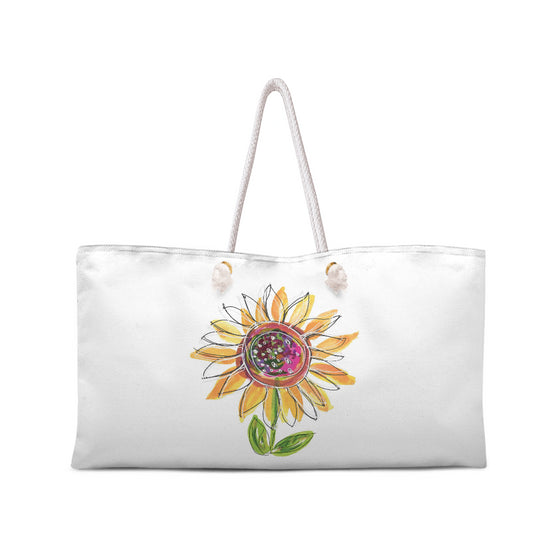 Sunflower Weekend Tote with White Rope Handles - tote - Dreams After All
