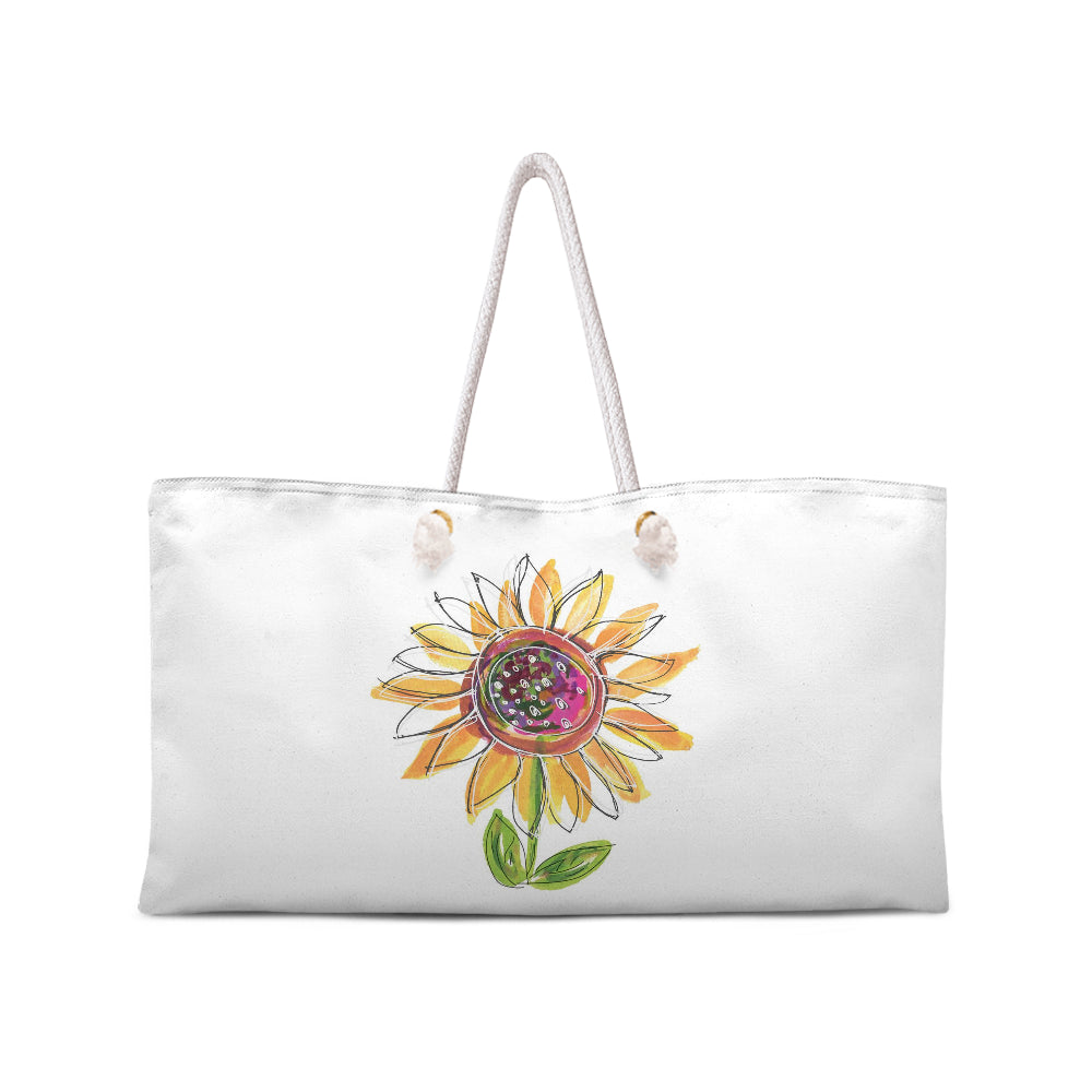 Sunflower Weekend Tote with White Rope Handles - Dreams After All