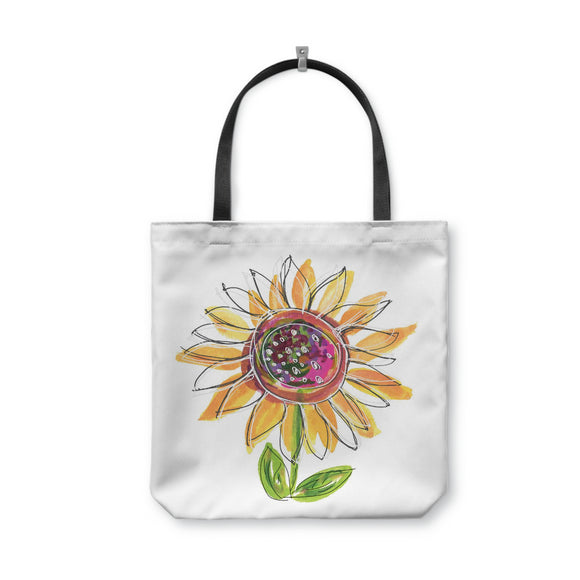 Sunflower Tote Bag With Woven Handles - Dreams After All
