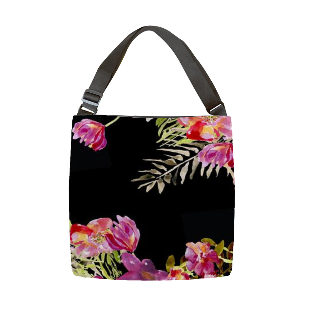 Renée Black Tote With Adjustable Woven Handle - Dreams After All