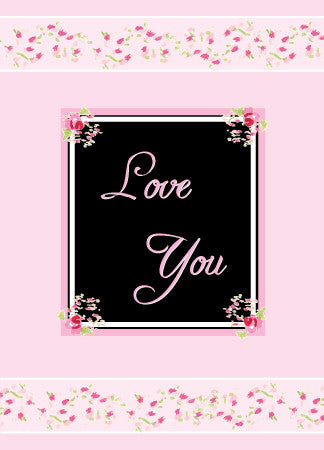Blank Love You Pink and Black Card