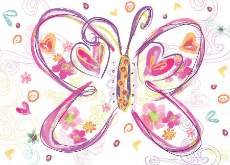 Blank Big Pink Butterfly Greeting Card - Dreams After All