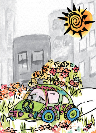 Blank VW Bug Card - Greeting Card - Dreams After All