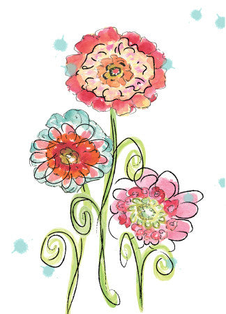 Blank Whimsy Flowers - Greeting Card - Dreams After All