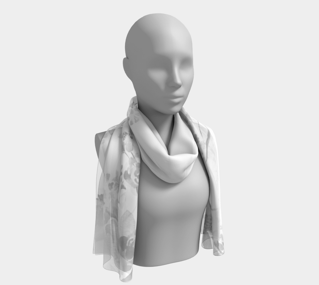 Grey and White Floral Long Scarf - Dreams After All