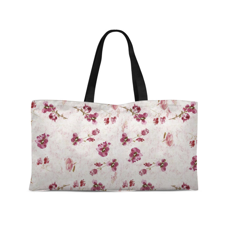 Spring Plum Weekender Tote with Woven Handles