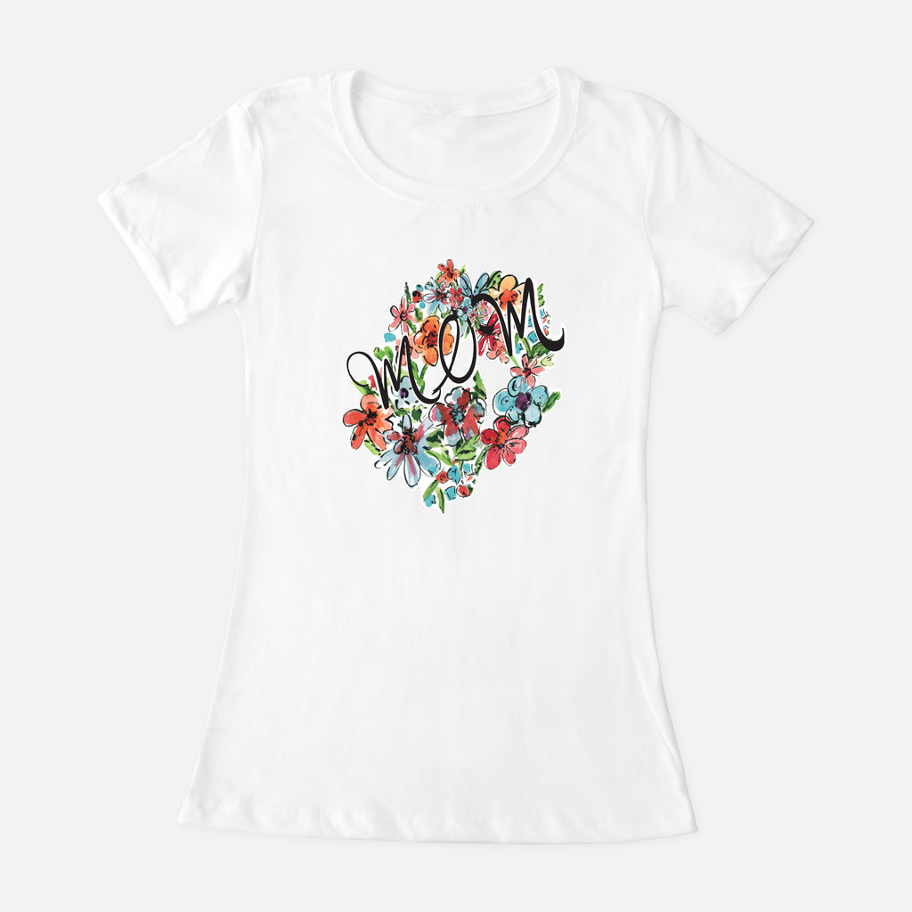 Mom Bright Floral Wreath Women's Crew Neck T-Shirt - t-shirt - Dreams After All