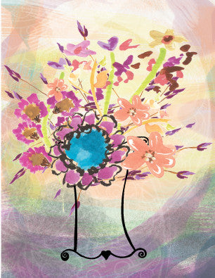 Floral Vase Blank Card - Dreams After All
