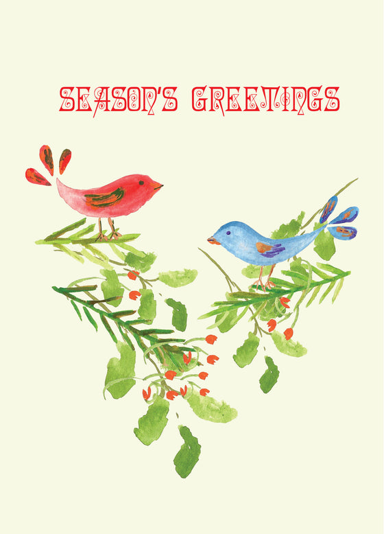 Package of 12 Season's Greeting Birds Greeting Cards - Holiday Cards - Dreams After All
