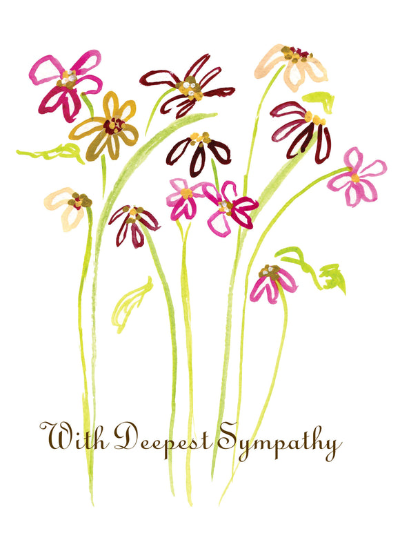 Burgundy Daisy Symmpathy Card - Greeting Card - Dreams After All
