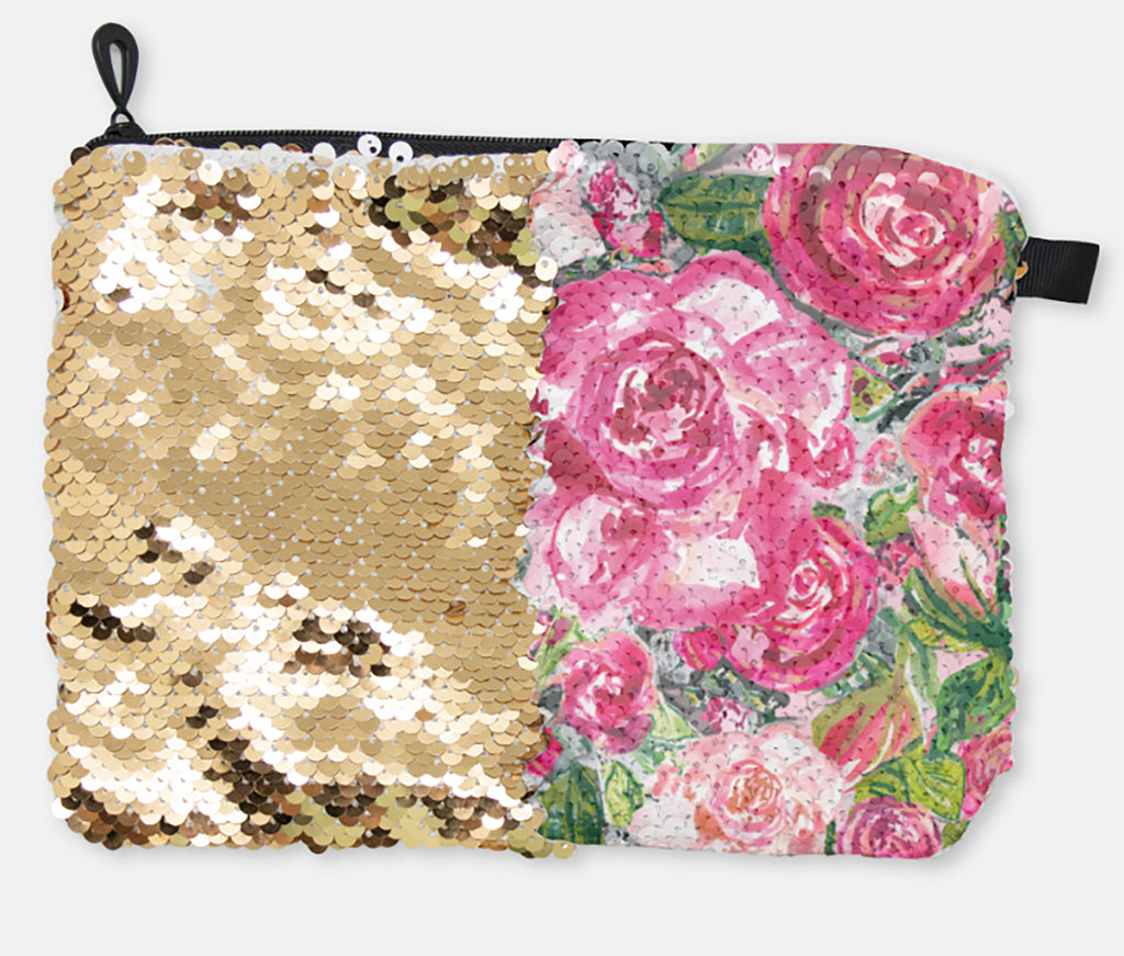 COSMETIC BAG - ROSE'S COTTAGE / GOLD SEQUINS - Accessory Pouches - Dreams After All