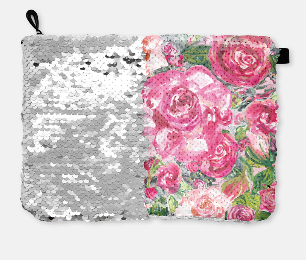 COSMETIC BAG - ROSE'S COTTAGE / SILVER SEQUINS - Accessory Pouches - Dreams After All
