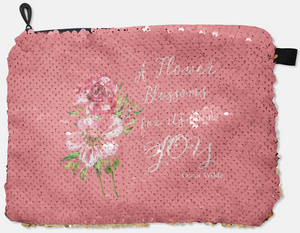 COSMETIC BAG - OSCAR WILDE - A FLOWER BLOSSOMS / ROSE GOLD SEQUINS - Dreams After All