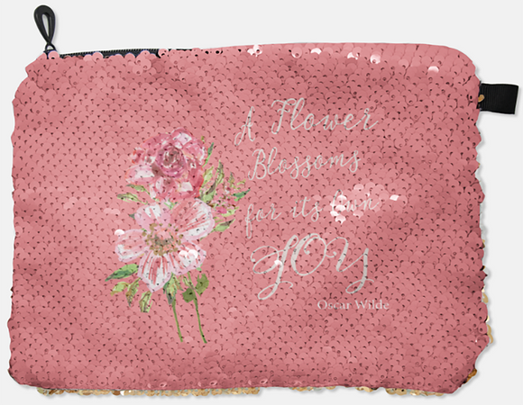 COSMETIC BAG - OSCAR WILDE - A FLOWER BLOSSOMS / SILVER SEQUINS - Dreams After All