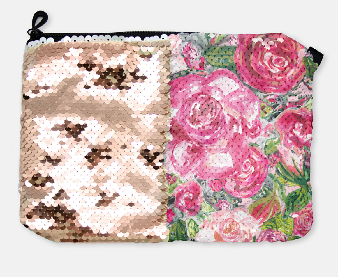 COSMETIC BAG - ROSE'S COTTAGE / ROSE GOLD SEQUINS - Dreams After All