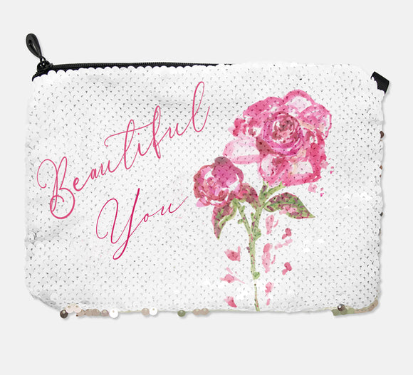 COSMETIC BAG - BEAUTIFUL YOU / ROSE GOLD SEQUINS - Dreams After All