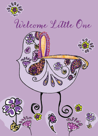 Purple Baby Carriage Card