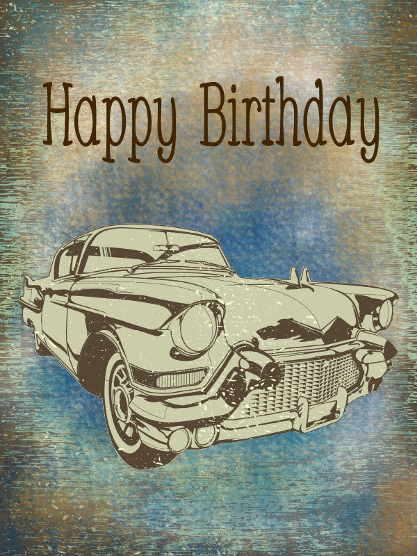 Happy Birthday Classic Car Greeting Card