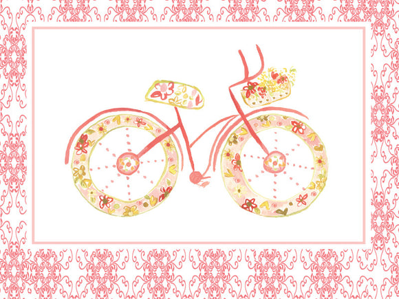 Blank Pink BIcycle Greeting Card - Greeting Card - Dreams After All
