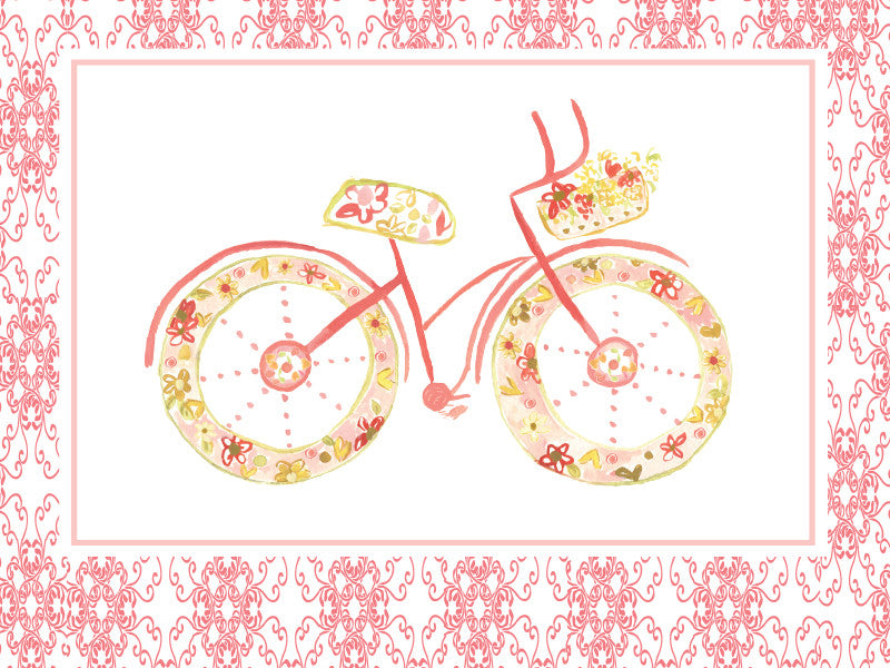 Blank Pink BIcycle Greeting Card - Dreams After All