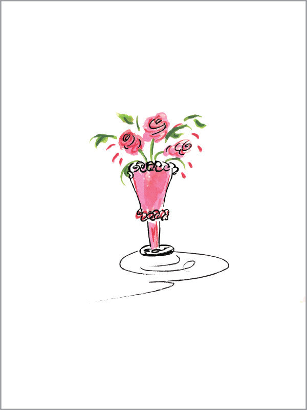 Blank Pink Rose Vase - Greeting Card - Dreams After All