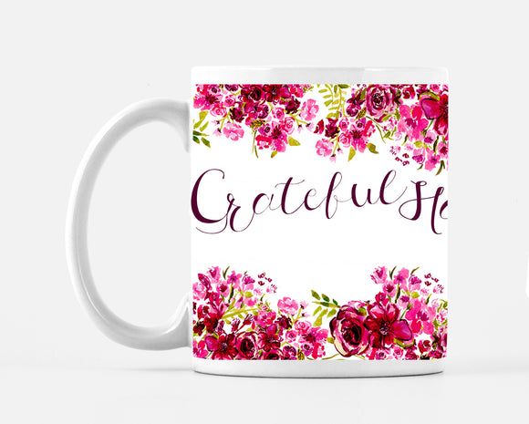 Blessed Grateful Happy Roses Beautiful Large 15 ounce Mug - Mugs - Dreams After All