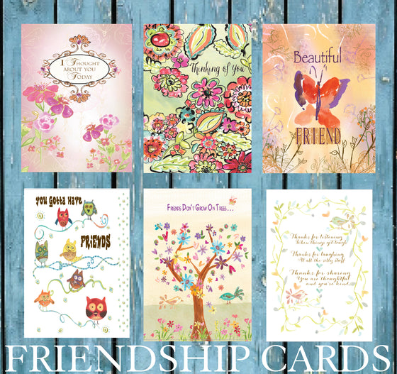 Friendship Card Pack of Six Greeting Cards
