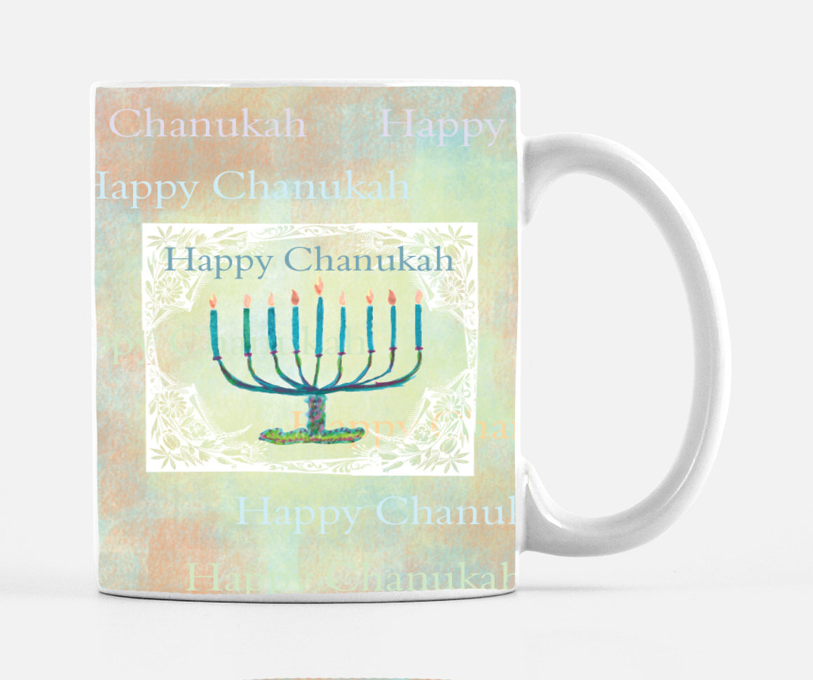 Happy Chanukah 15 Ounce Ceramic Mug - Mugs - Dreams After All
