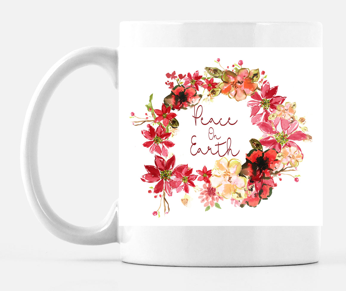 Peace on Earth Poinsettia Wreath Large 15 Ounce Mug