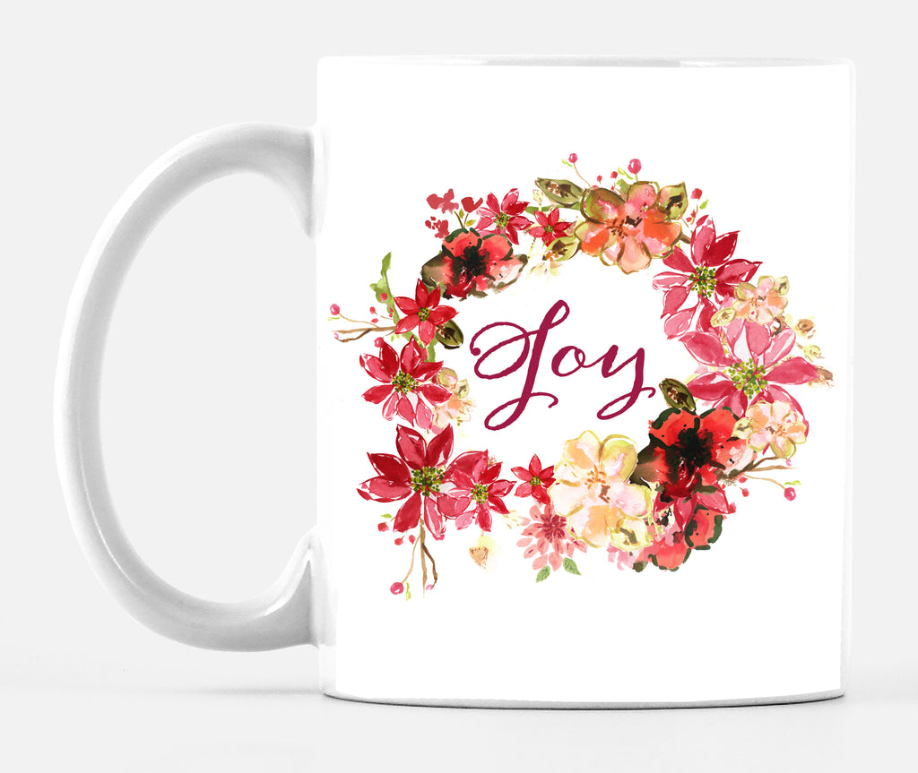 Joy Wreath Poinsettia Mug - Mugs - Dreams After All