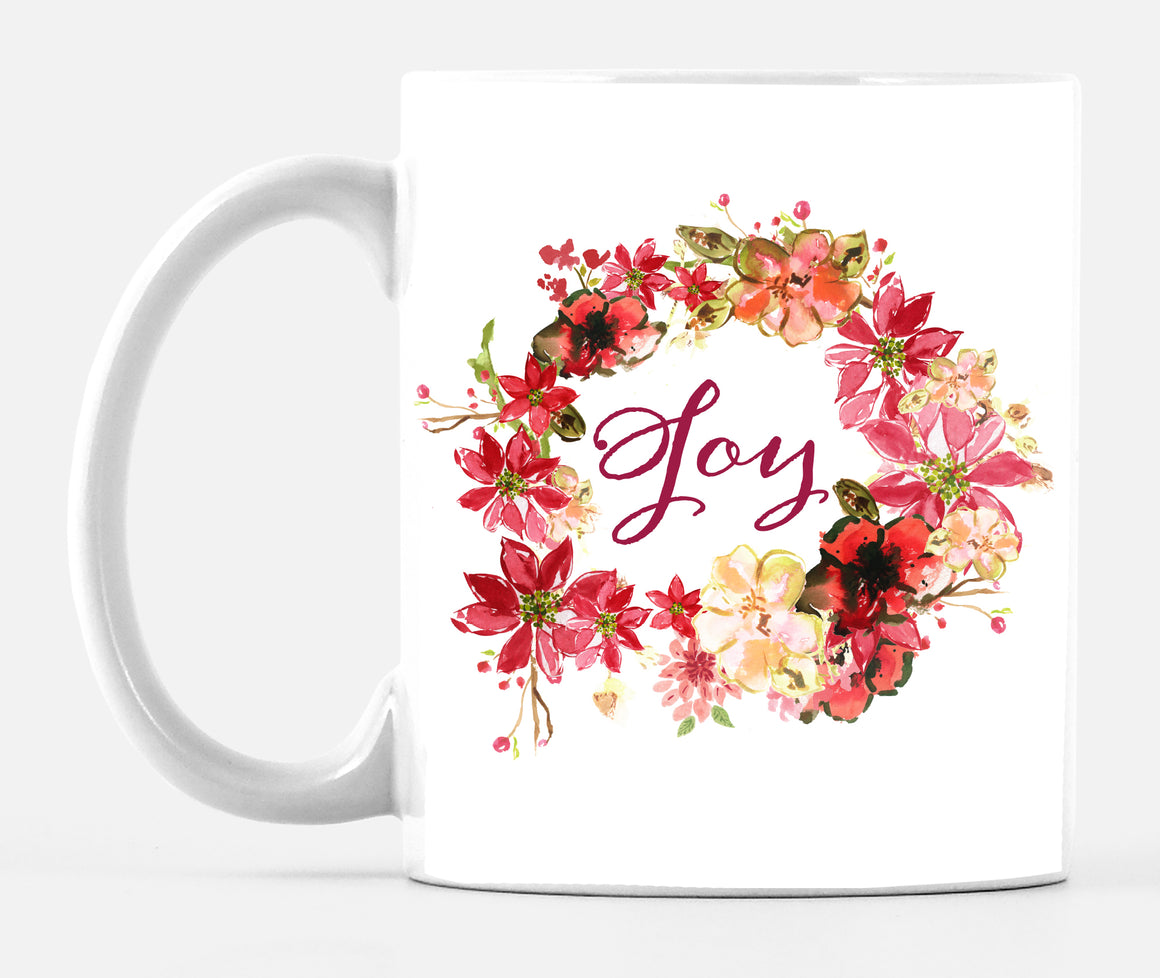 Joy Wreath Poinsettia Mug