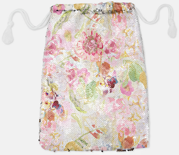 DRAWSTRING BAG - MOM'S PASTEL / SILVER SEQUINS - Dreams After All