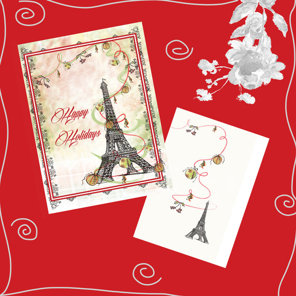 Package of 6 Eiffel Tower Holiday Red Gold Green Hand-Glittered Cards - Greeting Card - Dreams After All