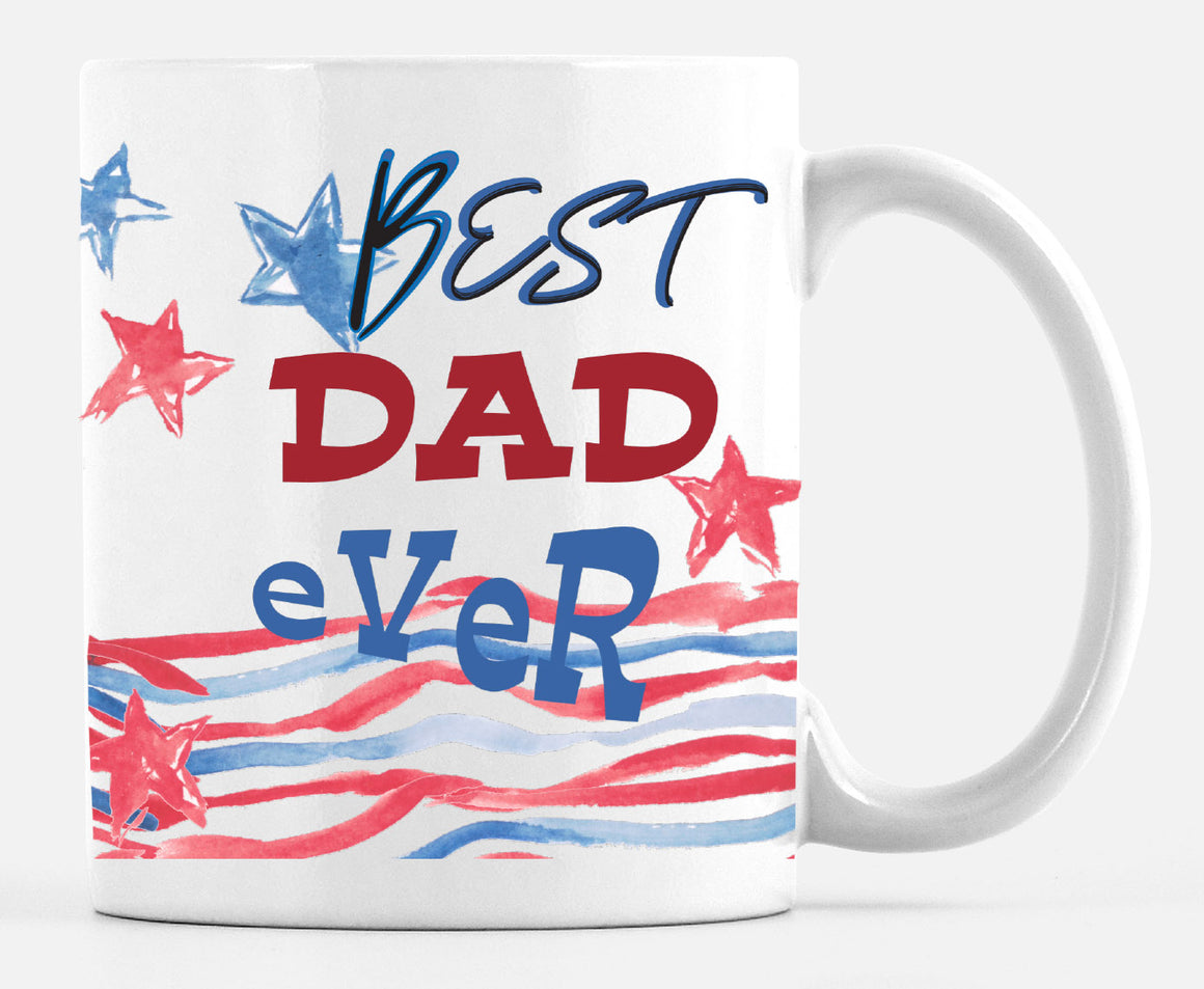 Red White and Blue Patriotic Best Dad 15 Ounce Mug Made in the U.S.A. - Mugs - Dreams After All