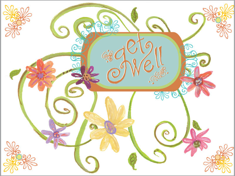 Get Well Swirl Greeting Card