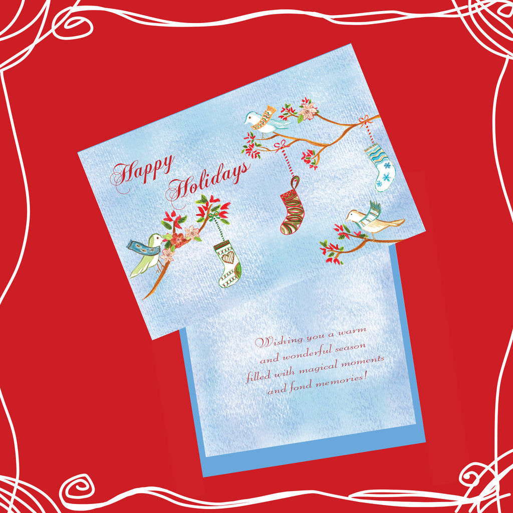 Package of 12 Happy Holidays Birds with Stockings Hand-Glittered Cards - Greeting Card - Dreams After All