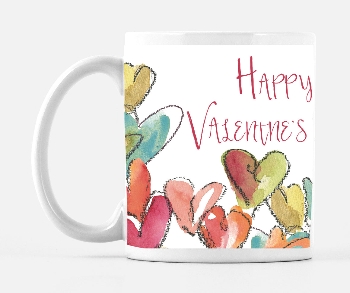 Happy Valentine's Day Chalk Heart 15 ounce Mug - Mugs - Dreams After All