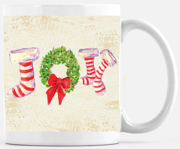 Joy Stockings Holiday Large 15 Ounce Mug